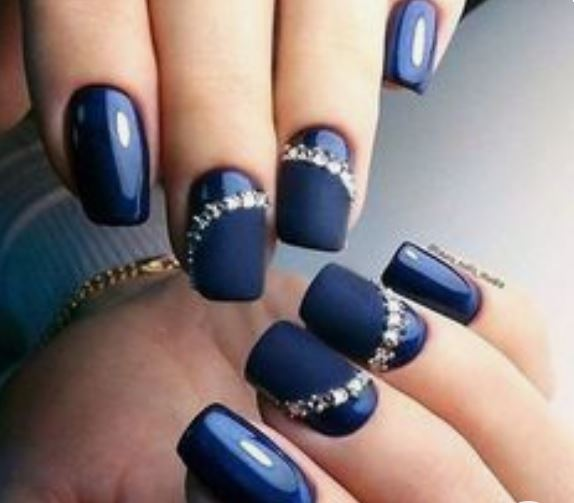 Blue Nail Designs with Diamonds