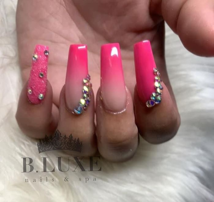 Hot Pink Nails with Diamonds