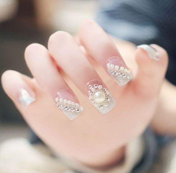 Nail Designs with Diamonds & Pearls