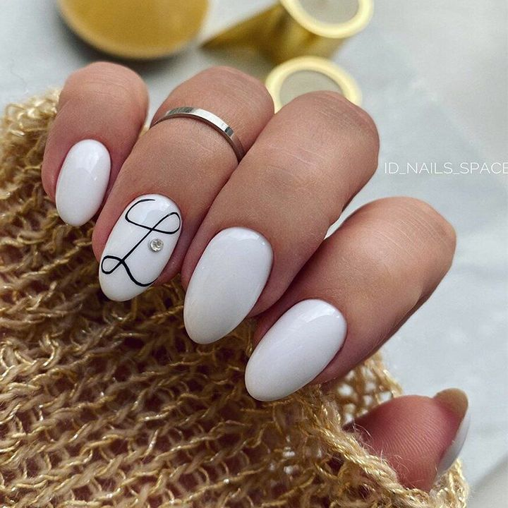 Nail designs with diamonds on one finger