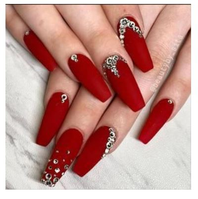 Red Nail Designs with Diamonds