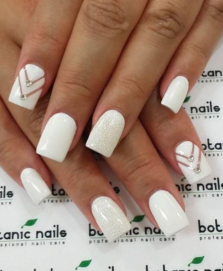 White Nail Designs with Diamonds