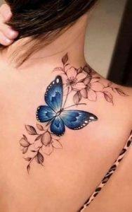 Shoulder Blue Butterfly Tattoo