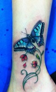 Ankle Blue Butterfly Tattoo