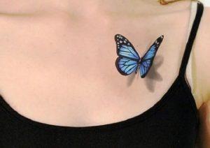 Blue Butterfly 3D Tattoo