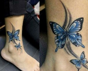 Ankle Bluer Color Tattoo for Women