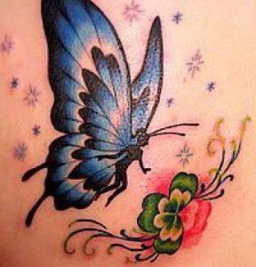 Hip Blue Butterfly Tattoo