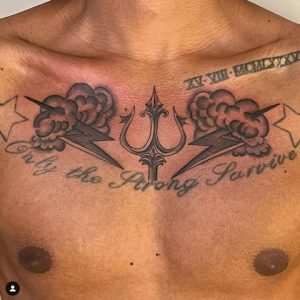 Cloud Tattoo on The Chest With Thunder Storm