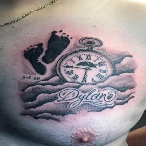 Time Mentioned Cloud tattoo On the Chest