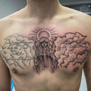 Praying Cloud Tattoo With Cross