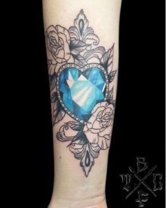 Blue heart Gem With Lace Tattoo