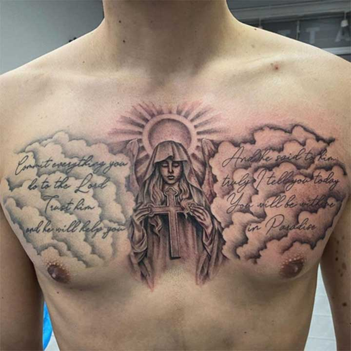 Cloud Tattoo On Chest