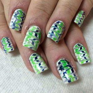 Glitter Seahawk Nails