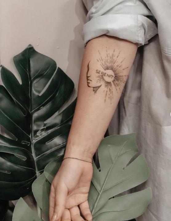 Sun Shape Serenity Tattoo Design