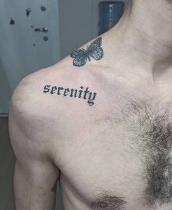 Shoulder Serenity Tattoo With Butterfly