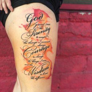 God Serenity and Wisdom Symbols tattoo