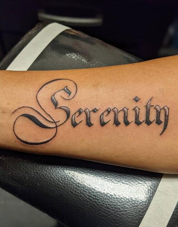 Serenity Hand Tattoo