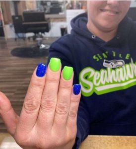 Simple Seahawks Nails