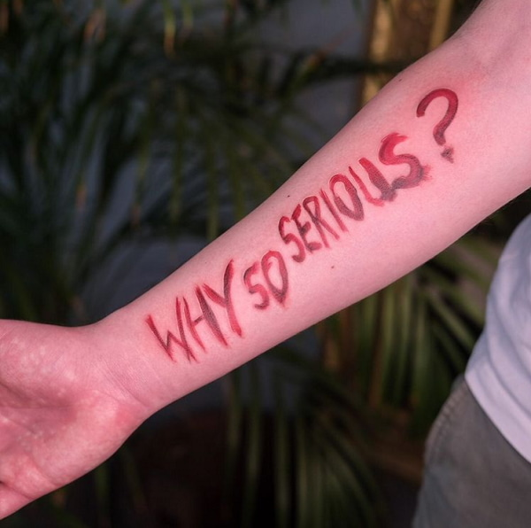 Red Font Why Serious Tattoo
