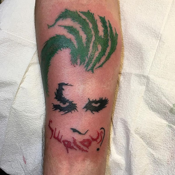 Why Serious Full Green Head Tattoo